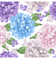 hydrangea flowers petals and leaves in watercolor vector image vector image
