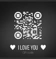i love you qr code on black background can be vector image vector image