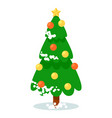 isolated snow-covered christmas tree on white vector image vector image