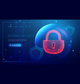 low poly lock data security concept cyber vector image