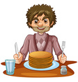 Man eating pancakes for breakfast vector image vector image