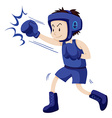 Man in blue outfit doing boxing vector image vector image