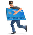 man robber runs with credit card vector image
