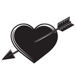 monochrome with an arrow in heart vector image vector image