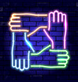 neon signboard teamwork or hands friends vector image vector image