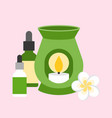oil burner with flower and bottle vector image