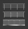 realistic detailed 3d glass balustrade with metal vector image vector image