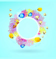 round banner corals with bright sea fishes vector image vector image