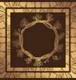 round golden frame of oak branches with leaves vector image
