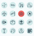 set 16 travel icons includes worldwide flight vector image vector image