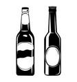 set beer bottles in ink vector image vector image