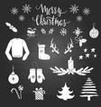 set christmas elements on blackboard vector image vector image