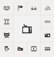 set of 13 editable filming icons includes symbols vector image vector image
