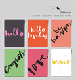 Set of 6 universal creative cards Hand lettering vector image vector image