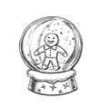 snow globe with biscuit man souvenir ink vector image vector image
