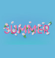 summer 3d text banner design with daisy flowers vector image