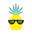 summer card with cute cartoon pineapple vector image