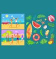 summer party by beach set vector image vector image