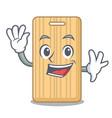 waving wooden cutting board character cartoon vector image vector image