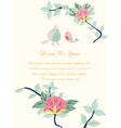 wedding card flower border with 2 birds vector image