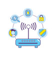 wifi router technology data center connection vector image