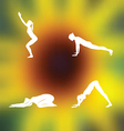 Yoga poses Blurred floral background vector image vector image