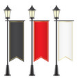 set of royal flags hanging on lamposts vector image