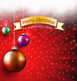 Christmas greeting card with bauble and ribbon bow vector image