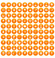 100 earth icons set orange vector image vector image