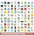 100 web development icons set flat style vector image vector image