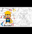 a funny builder cartoon with its tools coloring vector image vector image