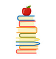 apple on top stack books white background vector image vector image