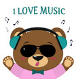 bear is a brown musician listens to music and vector image vector image