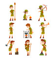boy scouts set boys in scout costumes with hiking vector image vector image