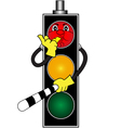 Cartoon red traffic light vector image vector image