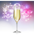 champagne glass on holiday firework background vector image