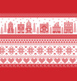 christmas pattern with winter wonderland town vector image