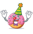 clown donut mascot cartoon style vector image vector image