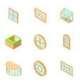 country house window icons set isometric style vector image vector image