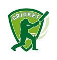 cricket batsman shield vector image vector image