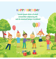 Cute boy celebrating birthday with her friends in vector image vector image