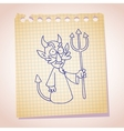 Devil character note paper sketch vector image vector image