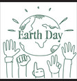 earth day poster design with hands raised to vector image vector image