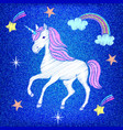 embroidered unicorn on jeans texture vector image