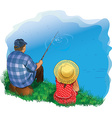 family fishing vector image vector image