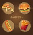 fast food menu eating set vector image vector image