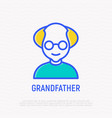 grandfather in glasses thin line icon vector image