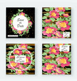 greeting cards with flower rose wreath leaves vector image