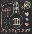 Hand Drawn Chalk Mothers Day Set vector image vector image