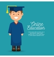 happy boy student education online design vector image